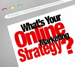 Image of a browser saying, What's your online marketing Strategy?