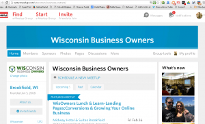 Screenshot of Wisconsin Business Owners on Meetup.com for article titled, Man Up! Woman Up! Meetup! Meet IRL - In Real Life!