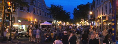 Picture of lit street in the evening for Friday night live.